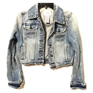 Jackets & Blazers - Never worn cropped distressed jean jacket